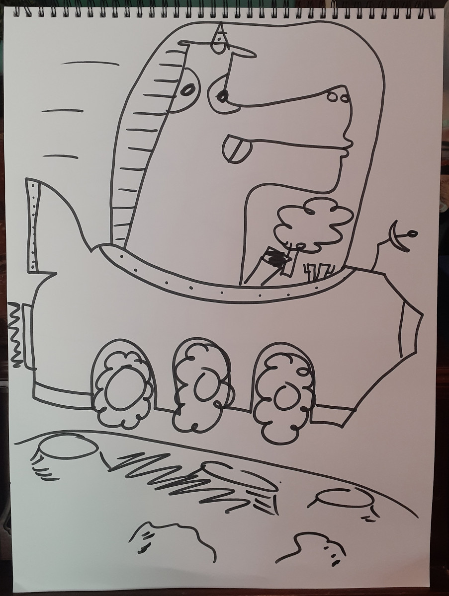 Drawing of a unicorn eating ice cream in a moon rover (black sharpie on white paper) by Tom Angleberger