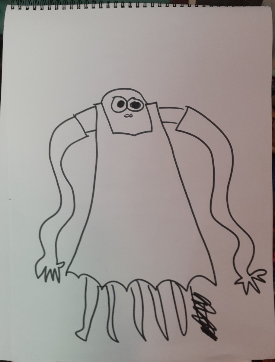 Drawing of an octopus in formal gown (black sharpie on white paper) by Tom Angleberger